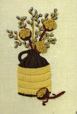 Sunset Design Jiffy Stitchery Crewel Embroidery Kit Pussywillows/Jug Vintage