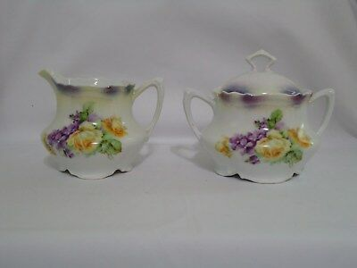 P.K. SILESIA Porcelain Yellow Rose and Violet Creamer and Sugar Bowl with Lid