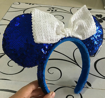 Disney Parks Minnie Mouse White Bow Blue Sequins Ear Headband Costume Party*