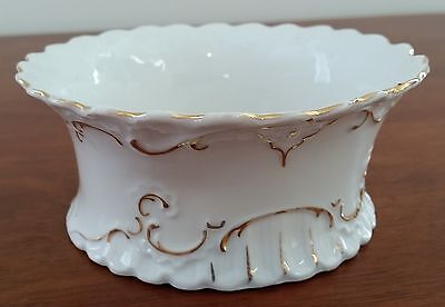 Vintage Early 20th Century WHITE Porcelain GOLD Leaf Scalloped Sugar Sweet Bowl