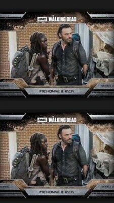 2x MICHONNE & RICK-ALLEGIANCE-DUST-TOPPS WALKING DEAD CARD TRADER