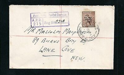 1946 BCOF Japan Overprint Registered Cover Army P.O 215 Postmark to Lane Cove