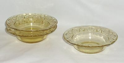 "3 Federal ROSEMARY AMBER *5"" BERRY BOWLS*"