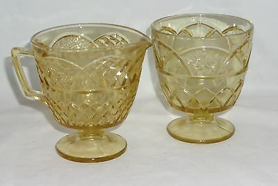Federal MAYFAIR  AMBER *FOOTED CREAMER & SUGAR*