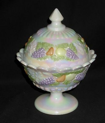 "Westmoreland DELLA ROBBIA MOTHER OF PEARL PASTEL *7"" CANDY JAR w/LID*DR17"