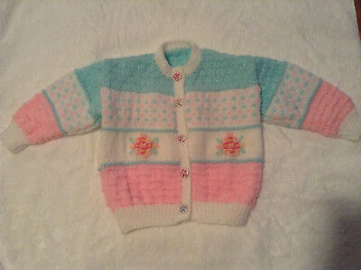 New Hand Knitted & Embroided Baby Girl Cardigan - 12mths