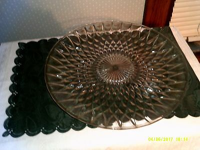 Vintage Jeanette glass company clear glass chop plate