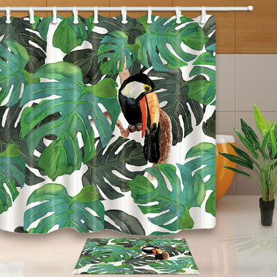 Red Bird Sitting in Fruit Tree Colourful  Bathroom Shower Curtain Polyester