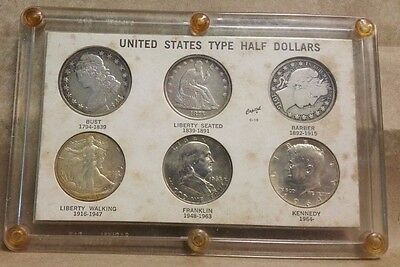 Collection of (6) United States US Type Silver Half Dollars in Capital Holder!