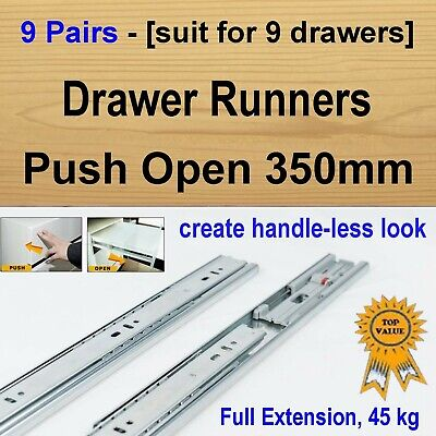 9 Pairs Push Open Cabinet Cupboard Kitchen Vanity Drawer Runners / Slides 350mm