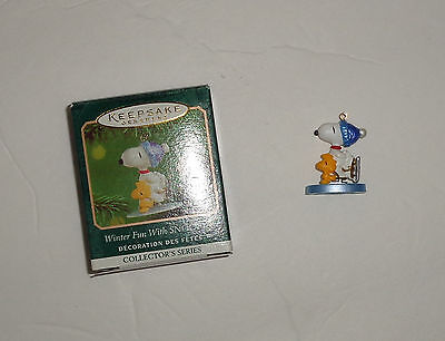 2001 Hallmark Keepsake Miniature Ornament Winter Fun with Snoopy #4 in Series