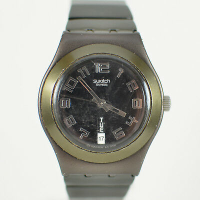 Vintage Mens Swatch Irony Swiss Made Day Date Aluminum Quartz Watch Gunmetal