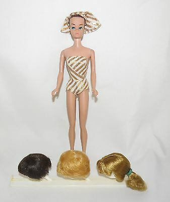 Vintage 1963  Mattel Barbie Fashion Queen #870 3 Wigs & Stand Swimsuit Turbeen