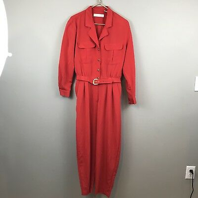 Chaus Womens One Piece Suit Sz M Jump Suit Belted 1980's Working Girl Red Gold