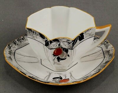 "Shelley Queen Anne ""red & Grey Damsons"" Cup & Saucer  Ca1925-1940 #1163"
