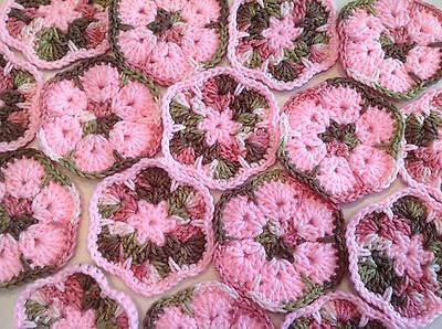 "20 4"" PINK CAMO AFRICAN FLOWER GRANNY SQUARES Crochet Afghans Blocks Hexagon"