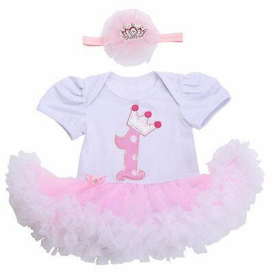Smilsheep One 1 Year Birthday Baby Flower Girls Princess Pageant Tutu Dresses