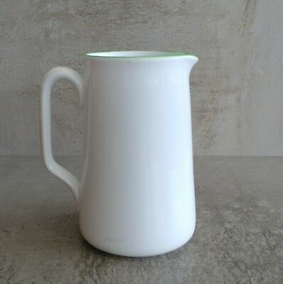 Vintage Plant Tuscan China Jug 450ml made in England White and Green Trim 1936+