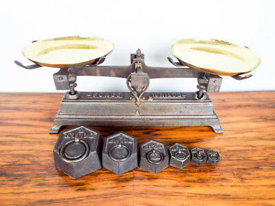 Rare Antique French Primitive Kitchen Scales & Weights Vintage Cast Iron Balance