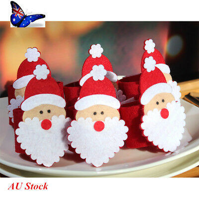 AU 6pcs Christmas Santa Napkin Rings Serviette Holder Dinner Table Party Decor