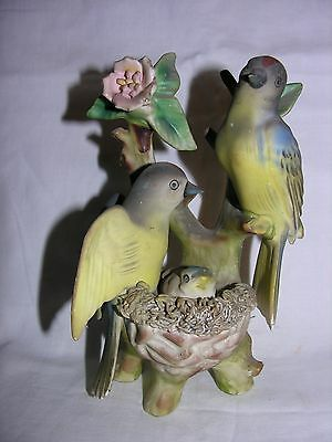 "Vintage 7"" Bird family on branch with nest porcelain #7801 figurine"