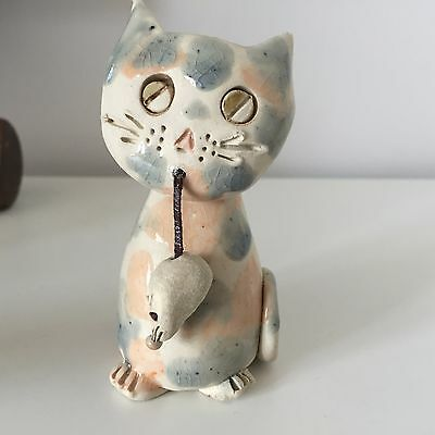 """Ceramic Pottery Cat with Mouse 4"""" Figurine"""