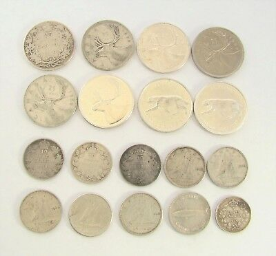 Canada Silver Coin Collection, 25 Cents, 10 Cents, 5 Cents, Set, Bulk Lot (18)