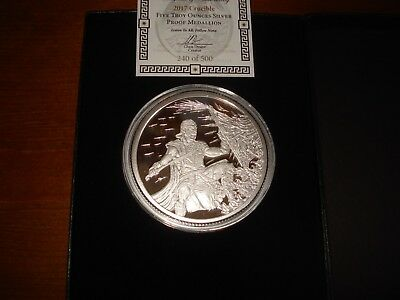 5oz 2017 Crucible Proof With Airtite, COA & Box Silver Shield 500 ONLY 5 oz 999