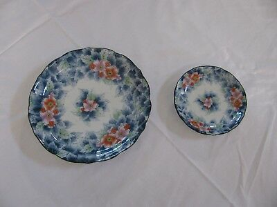 """Japanese Blue Pink Floral 7.5"""" x 1.25"""" Deep Plate and 4.5"""" x 1"""" Sauce Dish EUC"""