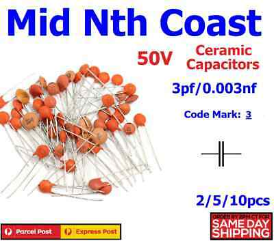 2/5/10pc 3pf - 0.003nf (Code #: 3) 50V Low Voltage Ceramic Disc Capacitors DIP