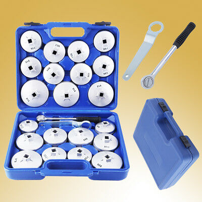 23Pcs Aluminium Cup Type Oil Filter Wrench Housing Removal Socket Remover Tool H