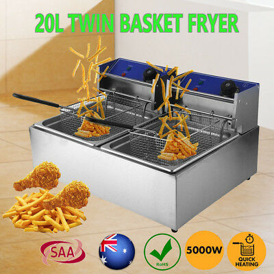 20L 5000W Commercial Electric Deep Fryer Twin Frying Basket Chip Cooker Fry AuHH