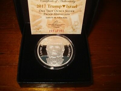 TRUMP PROPHECY SERIES #5 - 2017 TRUMP LOVES ISRAEL SILVER SHIELD PROOF 1 Oz 999