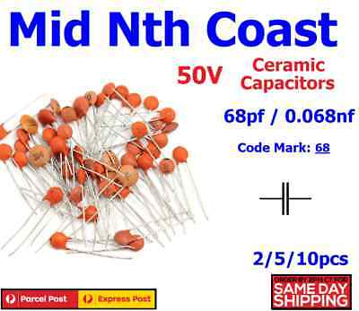 2/5/10pc 68pf - 0.068nf (Code #:68) 50V Low Voltage Ceramic Disc Capacitors DIP