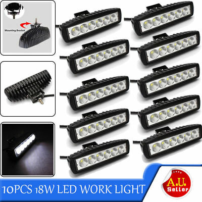 10x 18W 6INCH LED WORK LIGHT BAR OFFROAD FLOOD DRIVING AUTO TRUCK UTE 4WD LAMP H