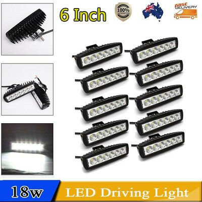 10PCS 6inch 18W LED Light Bar Driving Work Lamp Spot Truck Offroad UTE 4WD HH