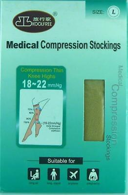 KOOLFREE LARGE Size MEDICAL Compression MEN'S Thin Knee High Socks 18-22 - BEIGE