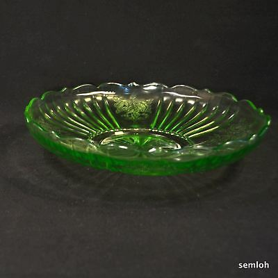 """Anchor Hocking Mayfair Open Rose Low 2 5/8""""Bowl Green Depression Glass 1931-1937"""