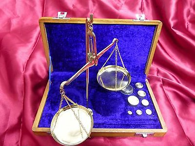 ANTIQUE LOOK BRASS NAUTICAL WEIGHING BALANCE SCALE 50g WITH BOX