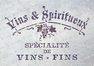 French Wine STENCIL A5 WS Vintage Shabby Chic Furniture Crate SUPERIOR 250 MYLAR