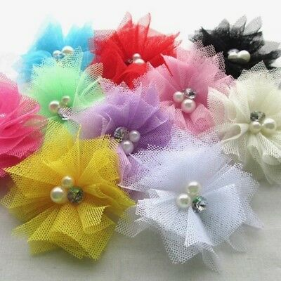 2pc Mesh Flower w/pearls ribbon craft wedding bows sewing beads applique #735