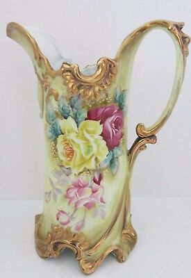 """Antique Pitcher/Tankard Porcelain Tall 11-1/2"""" Hand Painted Roses Circa 1891"""