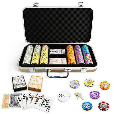 300 Chips Poker Set Gold Case Aussie Currency 14g Chips Plastic Cards Any Combo