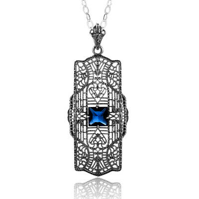 Authentic Sterling Silver Pendant Chain Sapphire Necklace Link Blue for Women