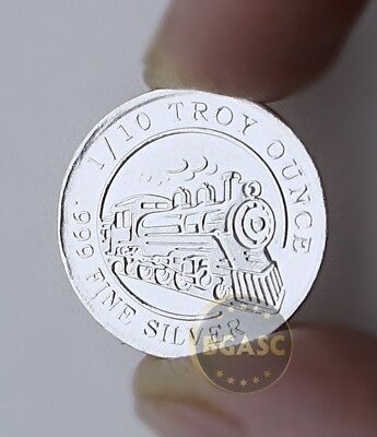 "1/10 oz 999 Fine Solid Silver Bullion Art-Round/Coin, 3.1 Grams "" STEAM TRAIM """