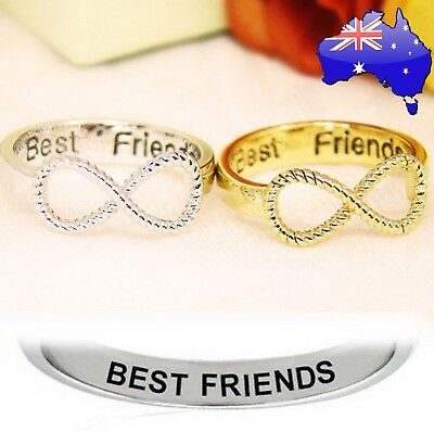Best Friends Engraved Friendship Rings Infinity BFF Silver Gold Gift Women's New
