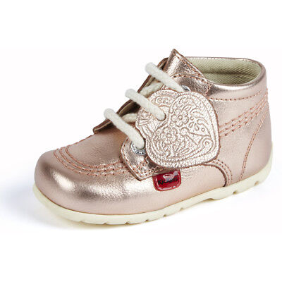 Kickers Kick Hi B Rose Gold Leather Baby First Walkers Shoes
