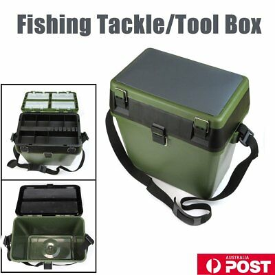 Lightweight Fishing Tackle Seat Box With 4 Removable Trays & Shoulder Strap HH