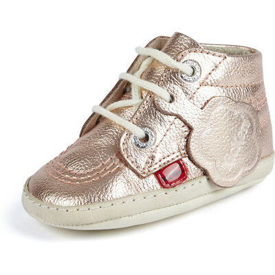 Kickers 1st Kicks B Rose Gold Leather Baby Soft Soles