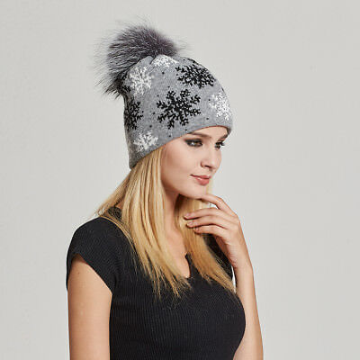 1623ffdf Women Oversized Slouchy Beanie Hat with Snowflake Pattern with fur pompom  17602